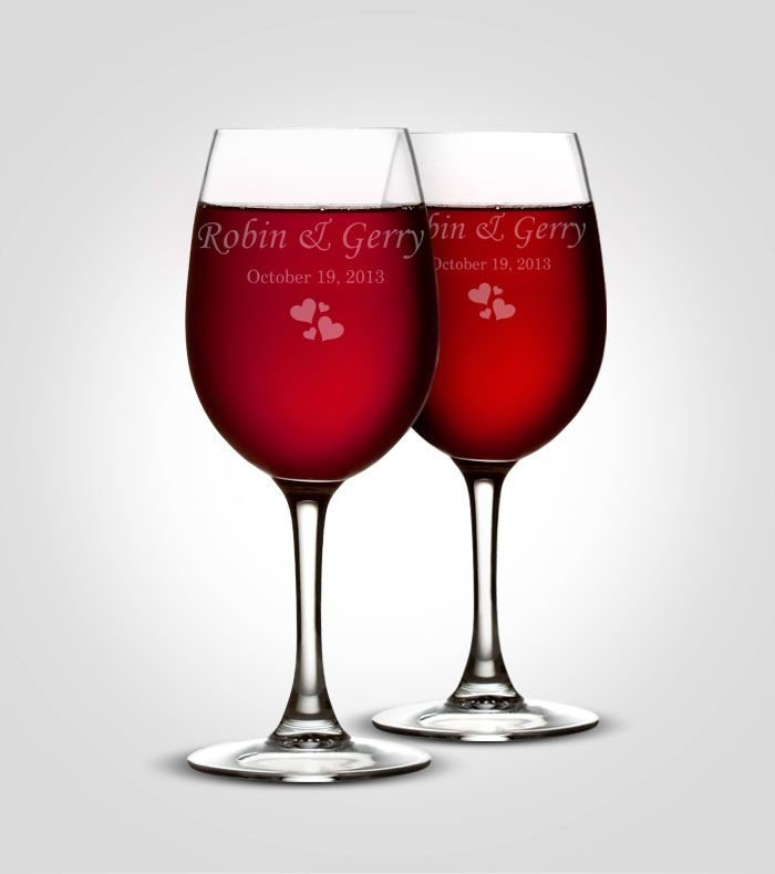 Wine Glasses, Red Personalized Custom Engraved Wedding Bridesmaid