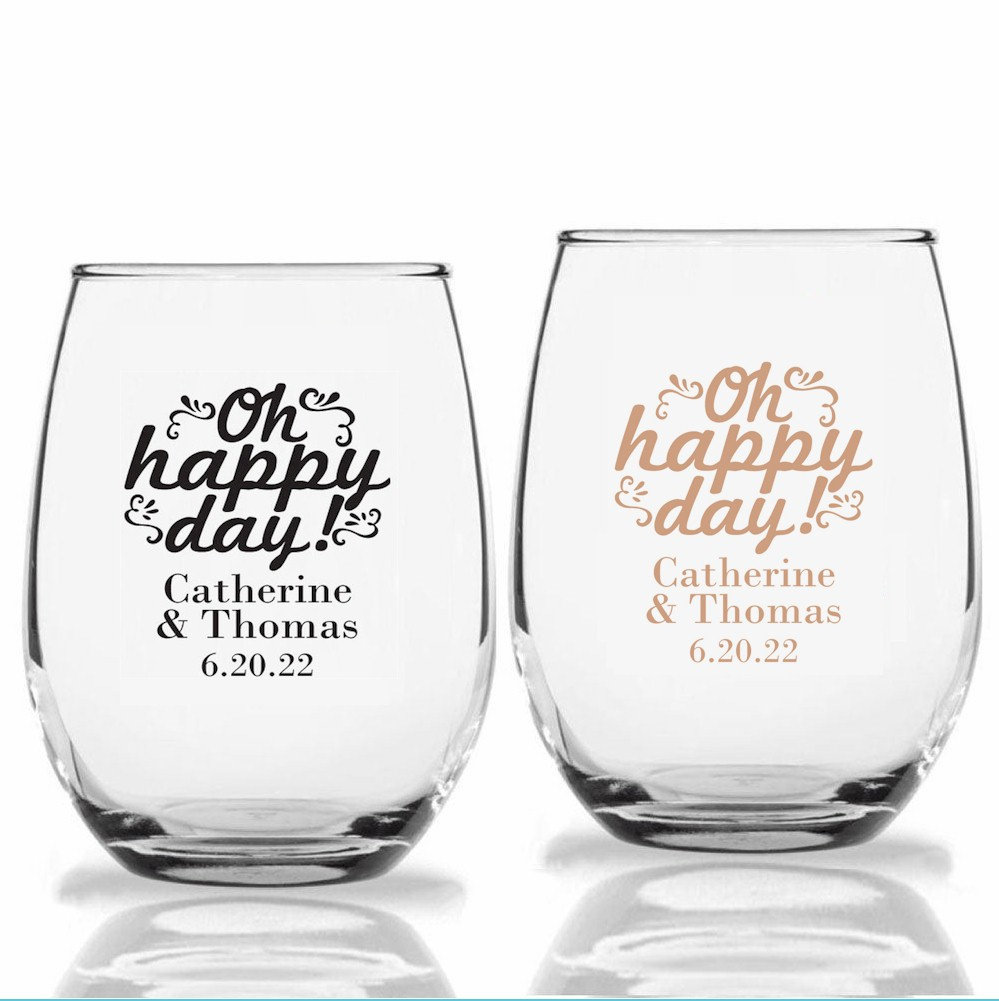 24+ Personalized Stemless Wedding Wine Glasses, Oh Happy Day Design, Custom Reception Favors