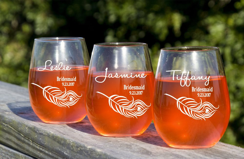 stemless Wine Glasses, 3 Toasting Custom Glass, Gift For Bridesmaids, Be My Bridesmaid, Personalized Champagne Glass