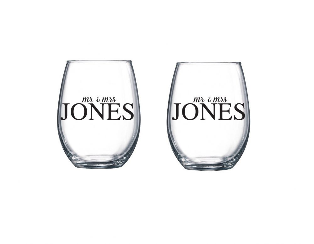 Set Of 2 Wedding Wine Glasses   Personalized Stemless Glass Custom Name
