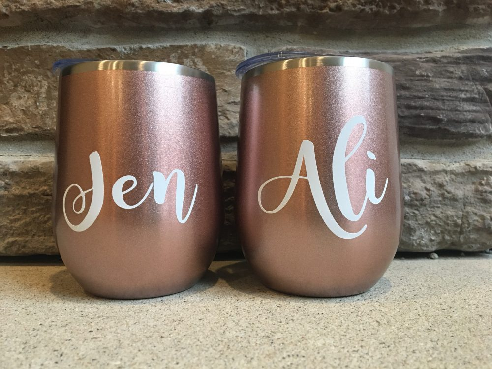 Personalized Rosegold Bridesmaid Tumbler   Wedding  stemless Wine Glass Tumbler - Great For & Bachelorette Parties