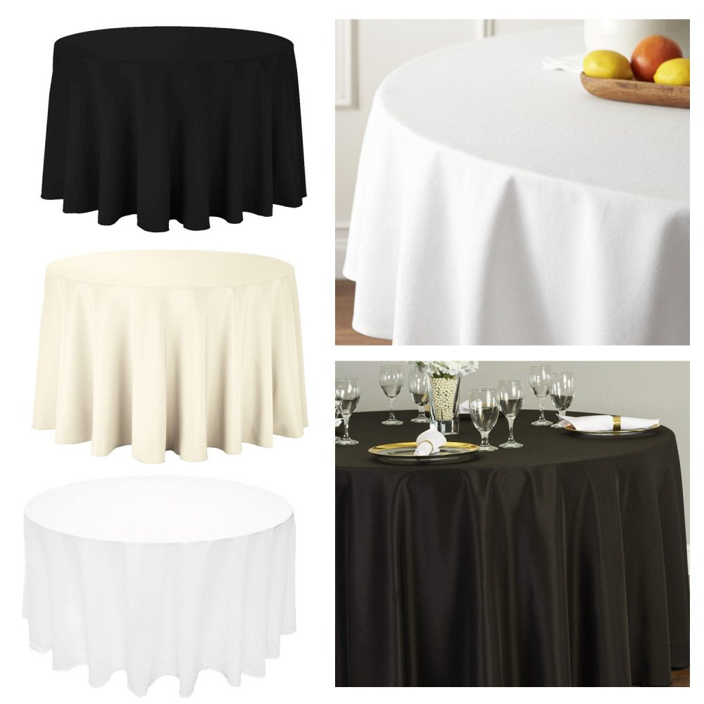 Polyester Tablecloth White Black Ivory Round Table Cover Cloth Wedding Birthday Banquet Party Outdoor Tableware Christmas Linens
