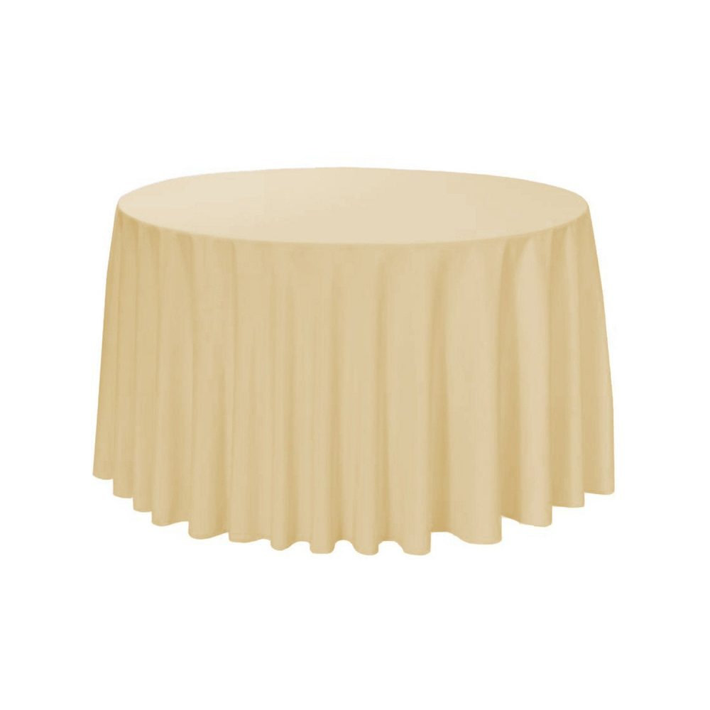 Champagne 108 Inch Round Polyester Tablecloth | Wedding Tablecloths, Banquet Tablecloths