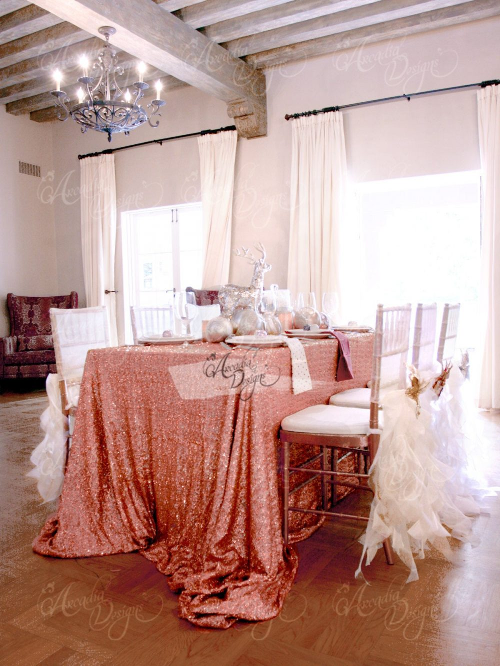 Rose Gold Sequin Tablecloth | Made To Order Shimmer Sparkly Overlays Table Cloths For Wedding, Event, Bridal Shower, Ceremony