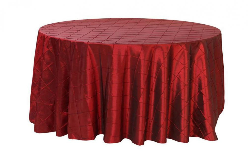 Burgundy 120 Inch Pintuck Round Tablecloth | Wedding Tablecloths, Banquet Tablecloths