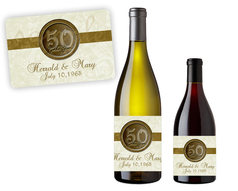50Th Anniversary Party Favors - Gold Wedding Wine Labels Champagne Golden Decor Custom