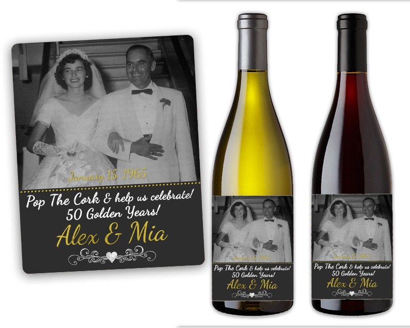 50Th Anniversary Party Favors - Wine Bottle Labels Mini Champagne Decorations Photo Vow Renewal