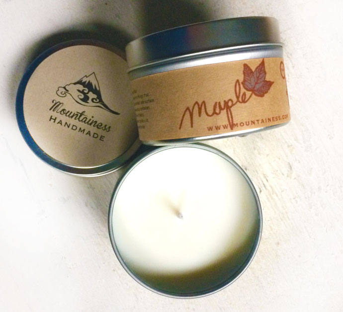 Maple Scented Soy Candle/Natural Wax Vegan Candles Handmade Syrup Maine Made Wedding Favor
