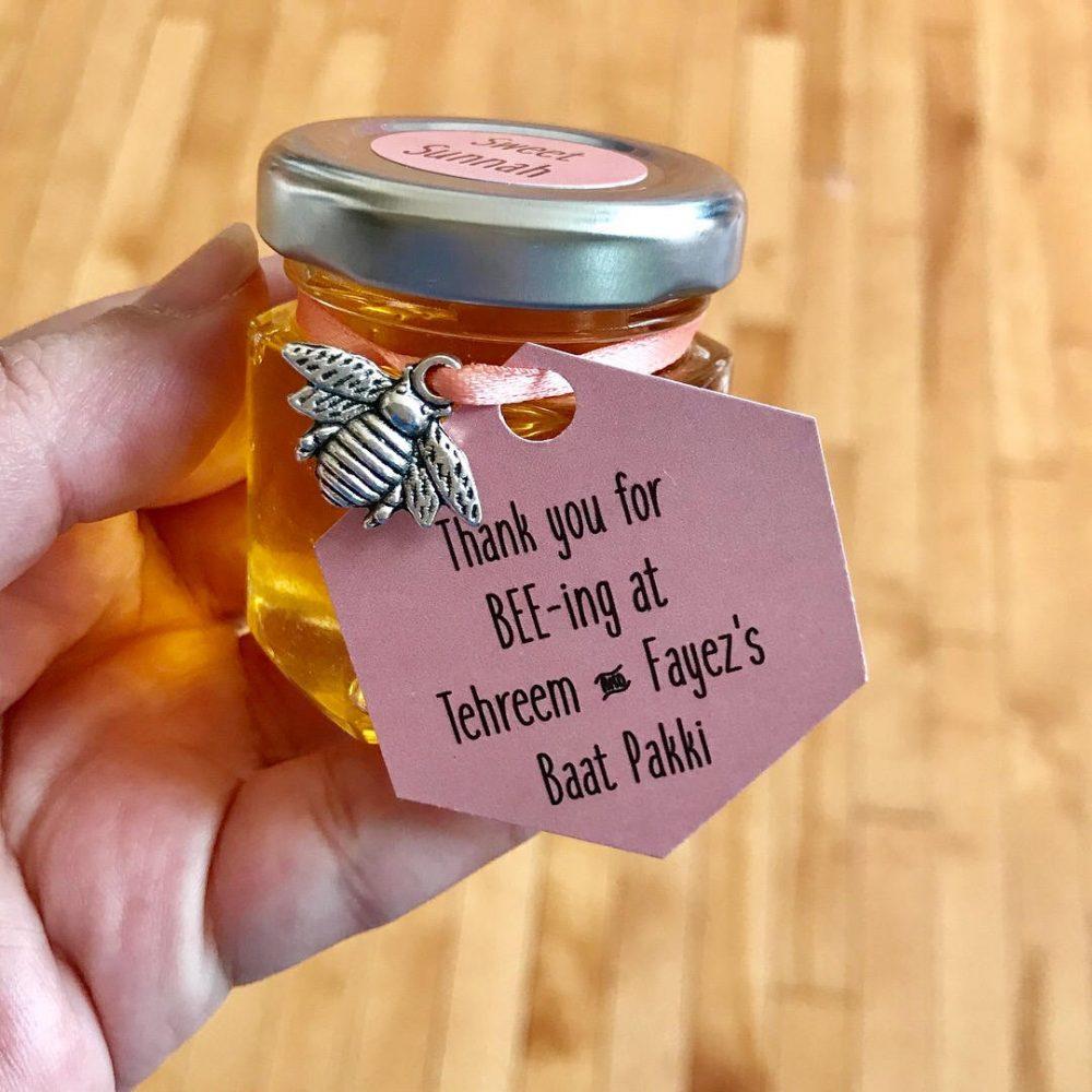 10 Honey Jar Wedding Favors, Honey Favour, Muslim Favor, Desi Wedding, Bee Party, Engagement Honeybee