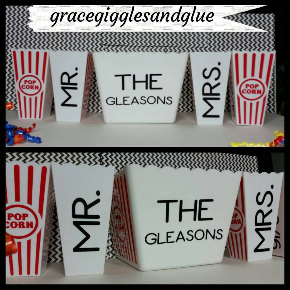 5 Personalized Newlywed Reusable Popcorn/ Favor Tubs, Family Movie Night Tubs
