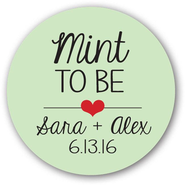 """1"""" Or 1.25"""" in Glossy Round Sticker Label Tags - Custom Wedding Favor & Gift Stickers Mint To Be"""