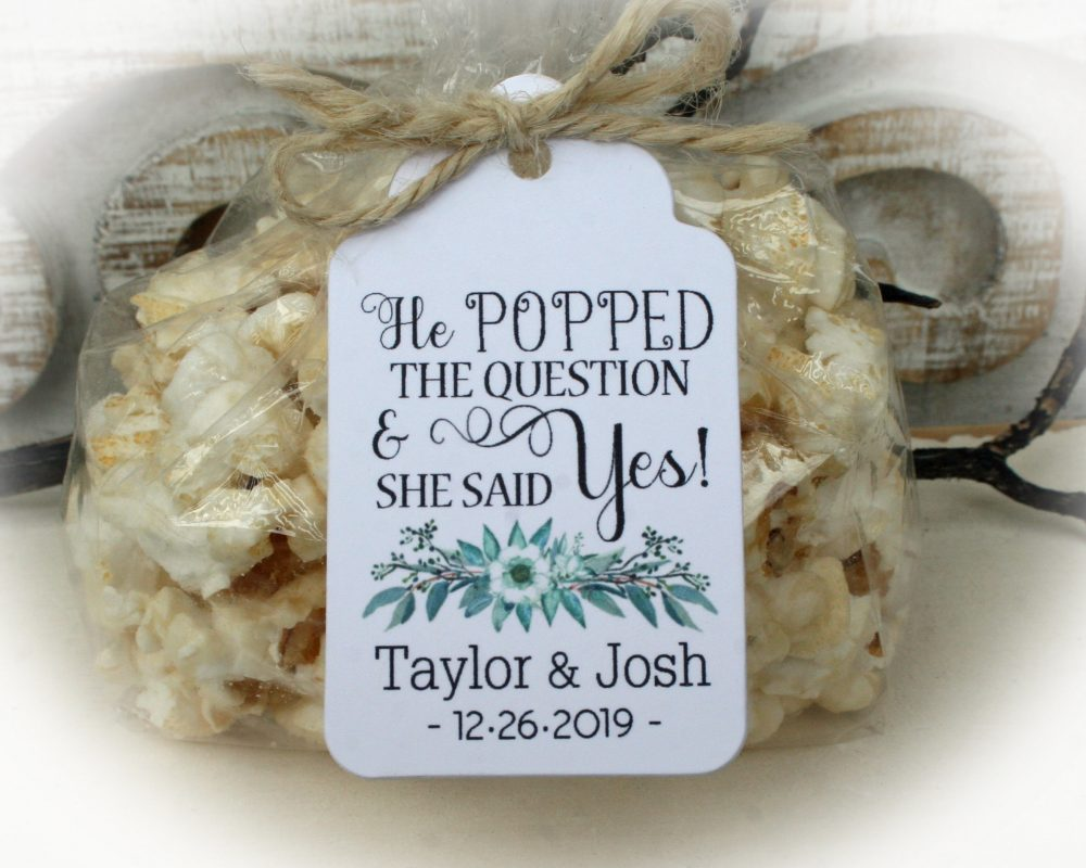 Boho Greenery Bridal Shower Popcorn Favor Kits-2 Tag Colors | Favor-Tags Only Or Diy Bags/Favor Tags & Tie, He Popped The Question