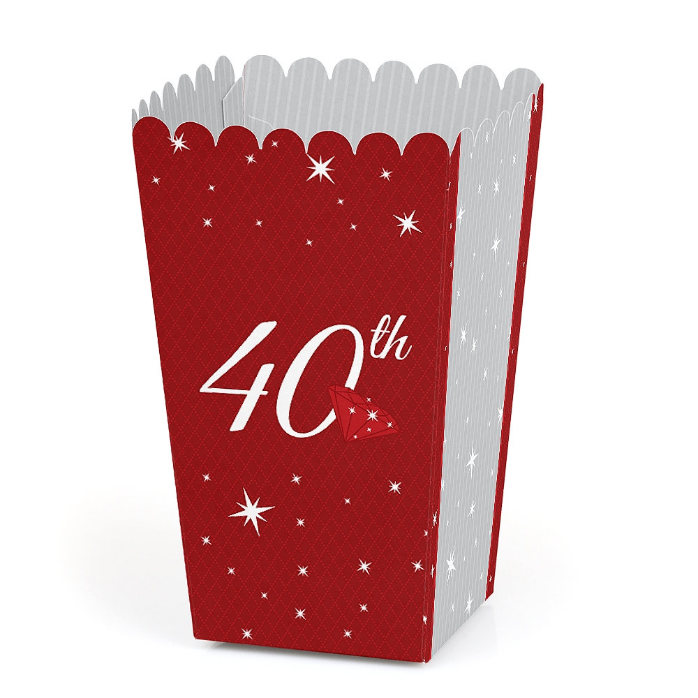 40Th Anniversary - Party Favor Popcorn Treat Boxes Set Of 12