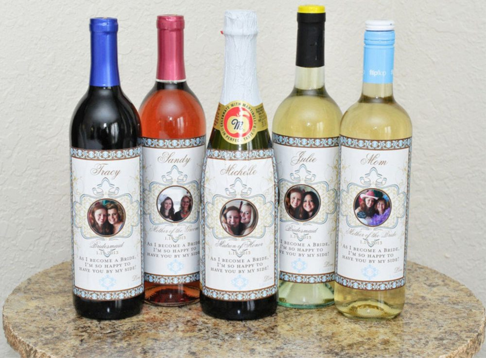 Bridesmaid Photo Wine Labels - Bridal Party For Wedding, Gifts, Favors, Showers, Wedding Decor 5