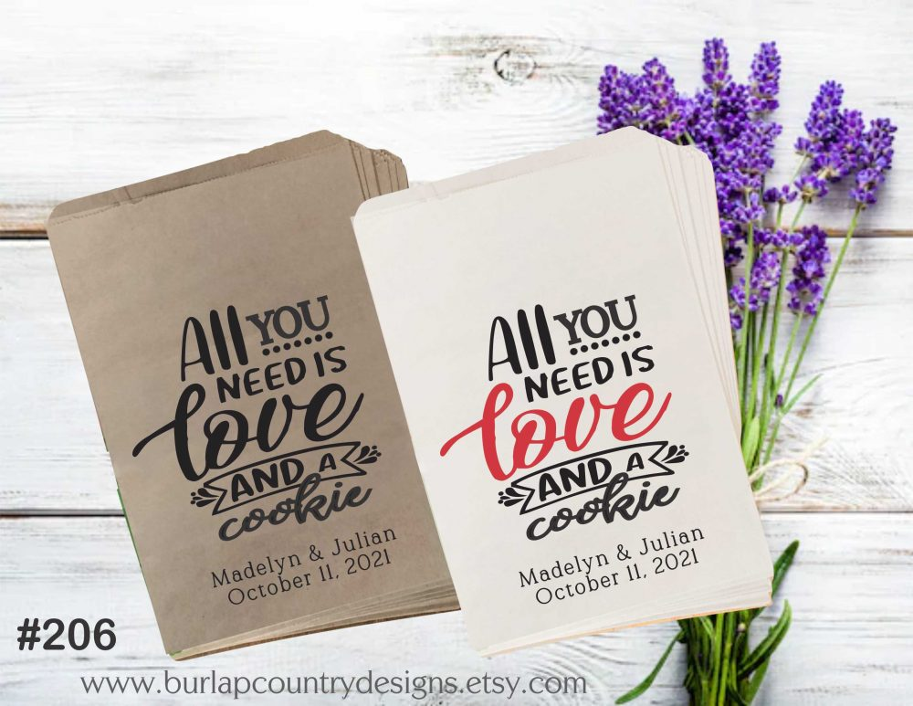 All You Need Is Love Favor Bags, Popcorn Wedding Paper Candy Cookie Bag, Favour Bagscandy Bags