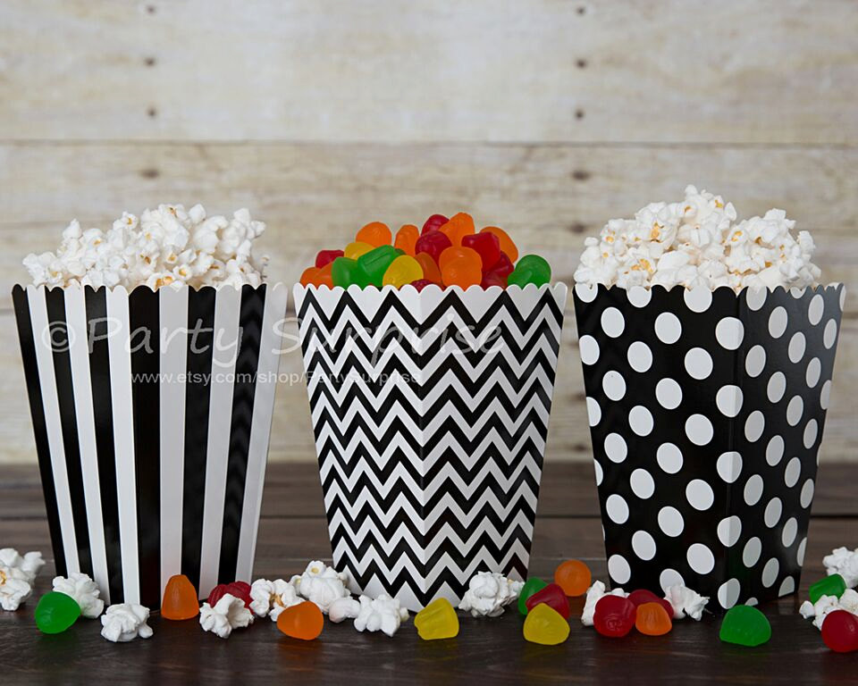 Black Popcorn Boxes Good Prices, Black & White Striped Chevron Dots Favor Candy Gift Boxes, Party Decoration Centerpiece Wedding, Birthday