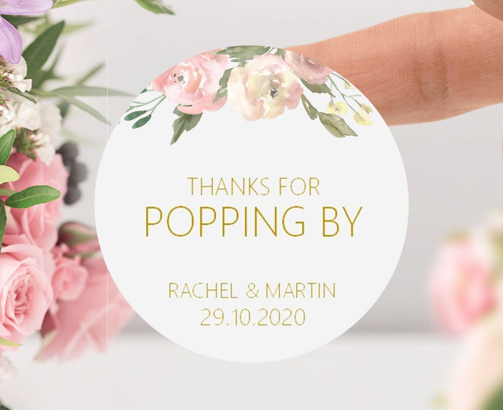Blush Pink & Gold Thanks For Popping By, Wedding Favour Label Round Popcorn Stickers