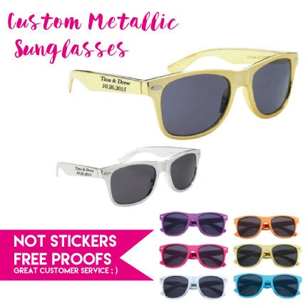 125 Metallic Imprinted Wedding Personalized Sunglasses, Custom Printed Party 1 Color Imprint Location, Sunglasses