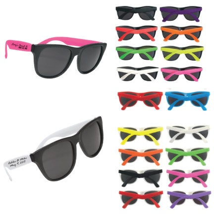 125 Personalized Wedding Favor Sunglasses, Custom Printed Party Includes 1 Color Imprint On 2 Side, Silkscreened Not Stickers