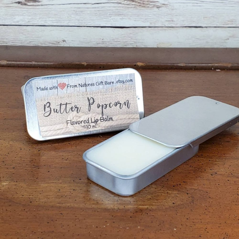 Butter Popcorn Flavored Beeswax Natural Lip Balm in Metal Tin Gloss Moisturizing Organic Hydrating Gift For Her Care