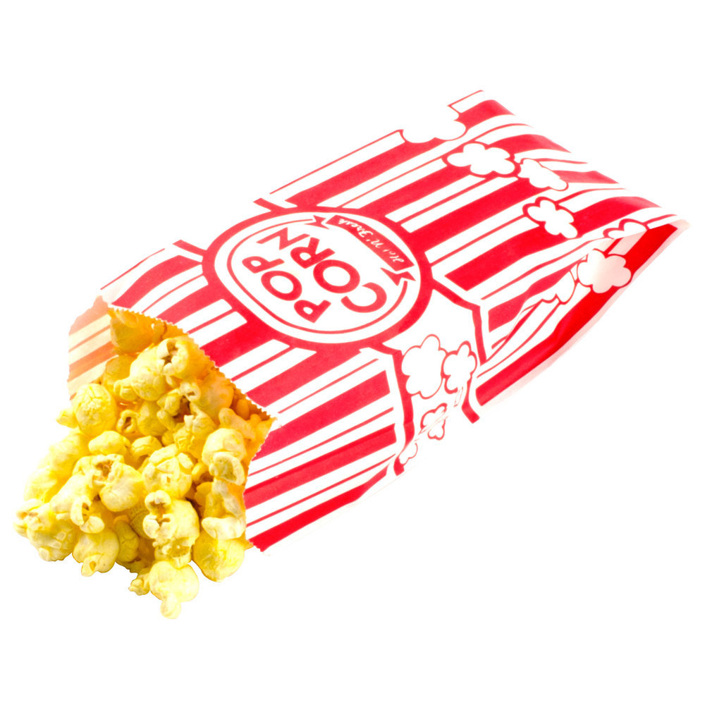 "25 Paper Popcorn Bags, Gusseted Retro Bags . 3 1/2"" X 2 1/4"" 8 1 Oz"