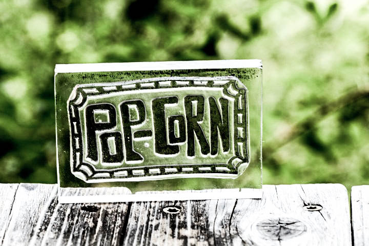 Big Popcorn Rubber Stamp - Southern Hand Lettered