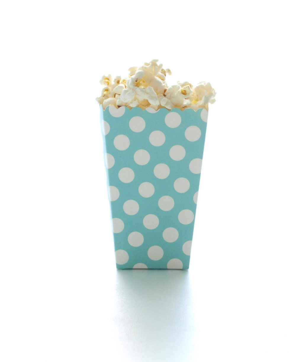Aqua Blue Polka Dot Popcorn Boxes | 12 Pack - Dessert Table Candy Boxes, Scallop Edged Treat Containers