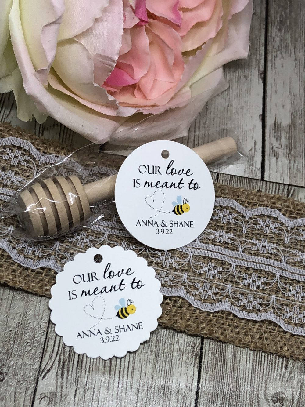 """1.5"""" Wedding Tags, Favor Gold Foil Honey Jar Meant To Bee Off White Blush +"""