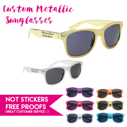 150 Metallic Personalized Wedding Sunglasses , Custom Printed Party Sunglasses, Includes One Color Imprint 2 Locations