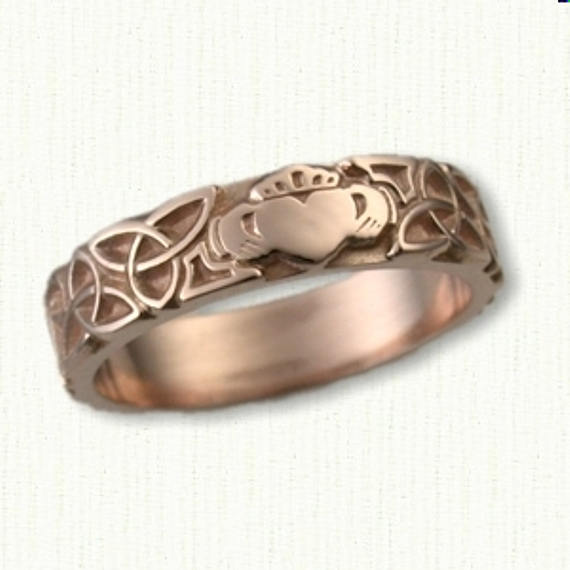 Celtic Triangle Knot With Single Claddagh Wedding Band - 6mm Available in All Metals & Sterling Silver