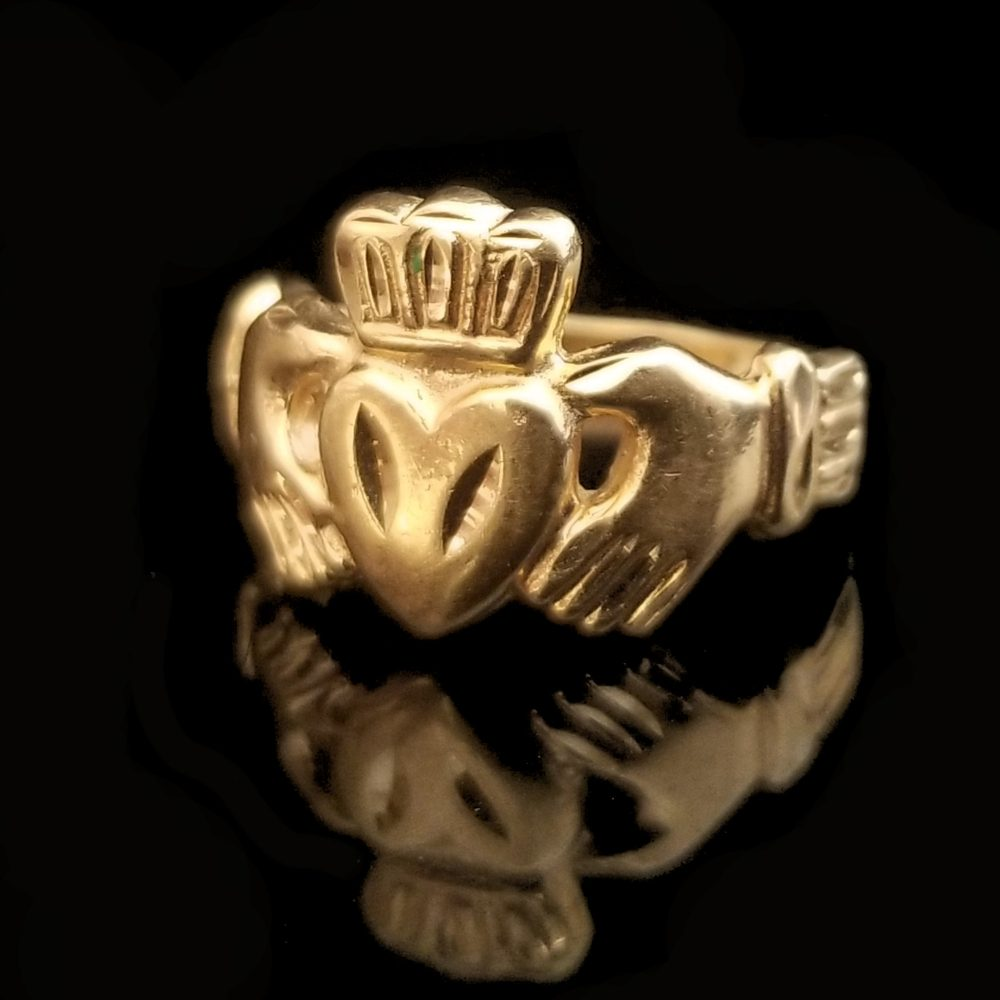14K Gold Claddagh Band, Size 5 1/2, Irish Jewelry Friendship Ring, 12.4mm Wide, Crown Over Heart, Vintage Estate Jewelry, Promise Ring