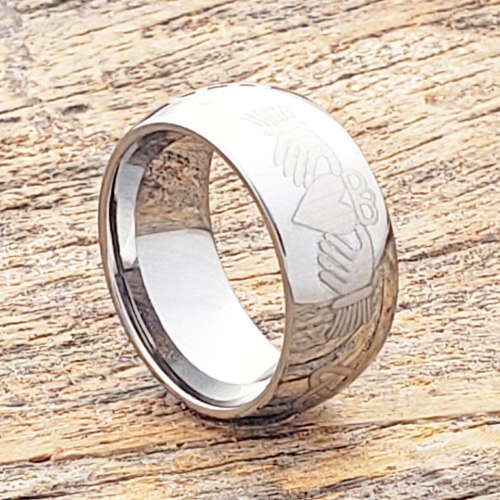 Celtic Claddagh Ring, Irish Knot Band, Wedding Tungsten Ring