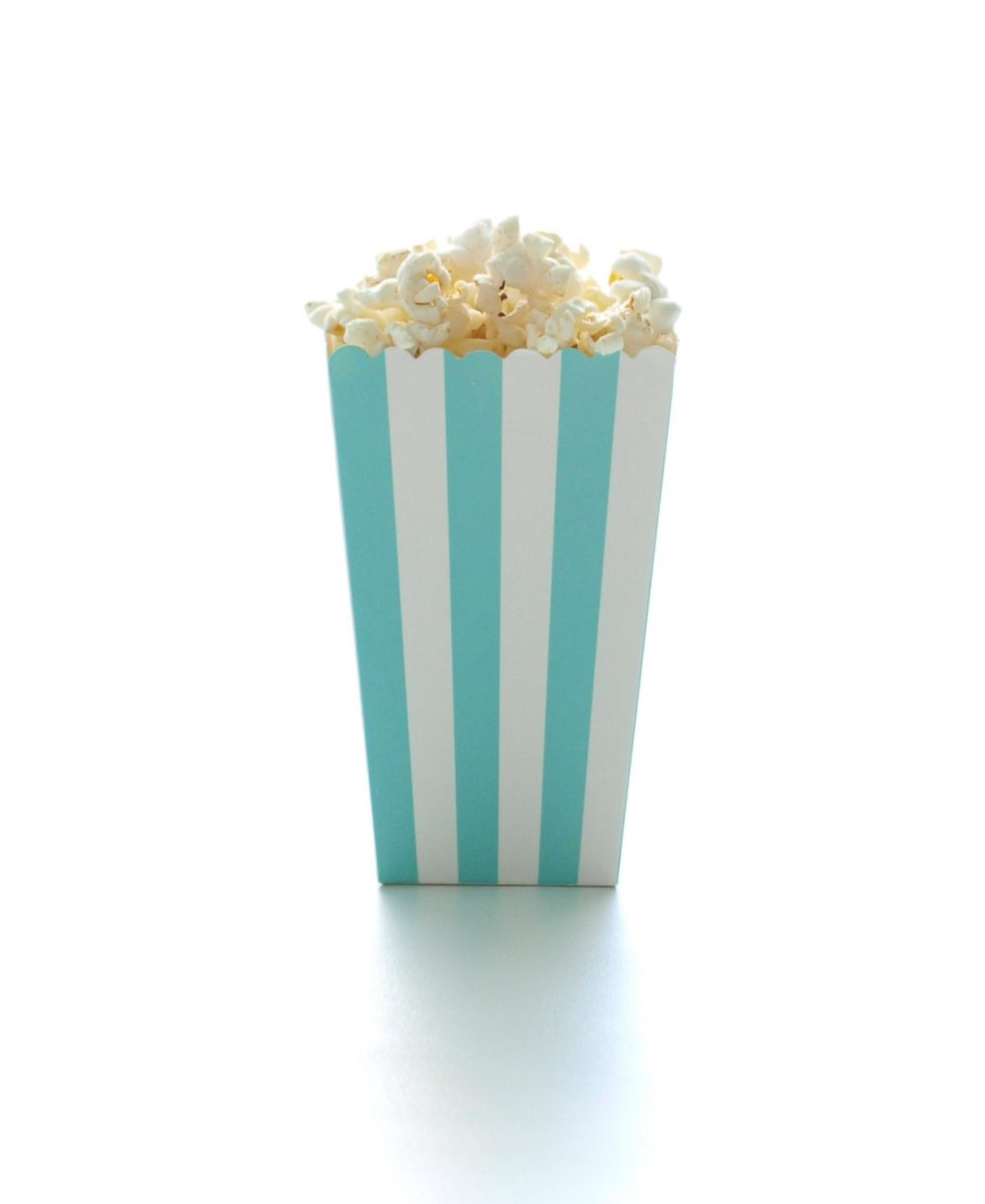 Aqua Blue Stripe Popcorn Boxes | 12 Pack - Paper Wedding Boxes, Miniature Candy Cartons, Open Top Treat Tubs
