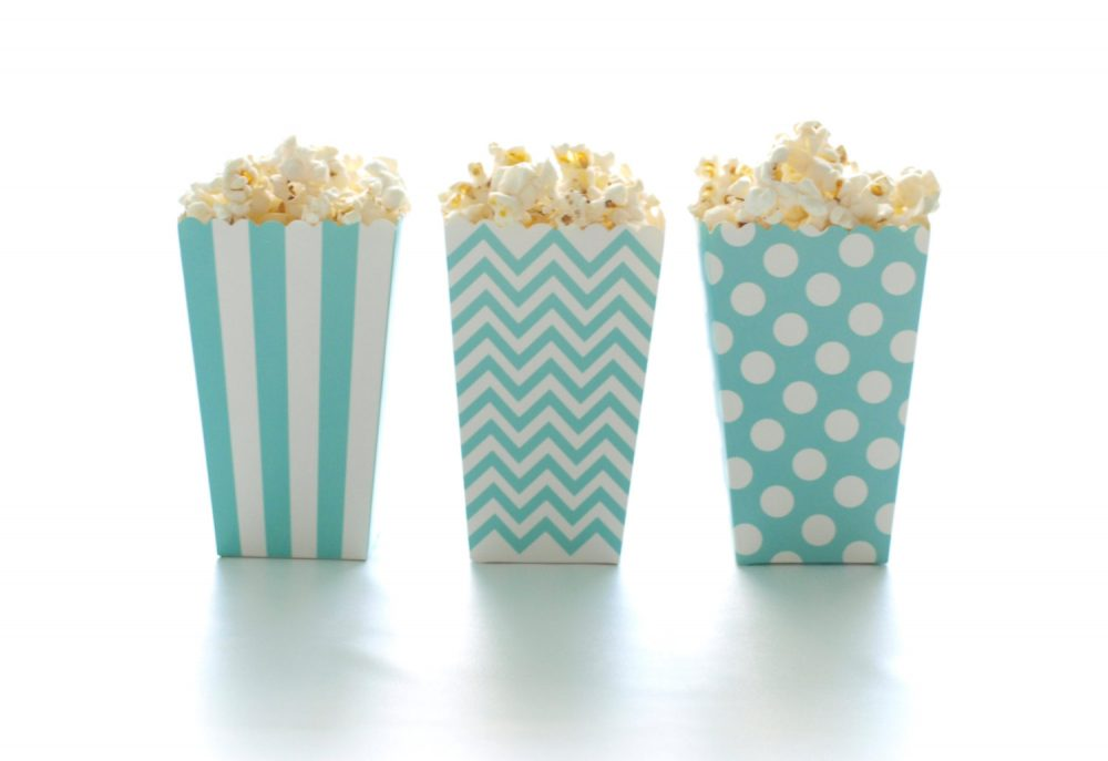 Aqua Blue Popcorn Boxes | 36 Pack - Mini Tubs, Scalloped Edge Treat Cartons, Party Candy Boxes, Wedding Favors