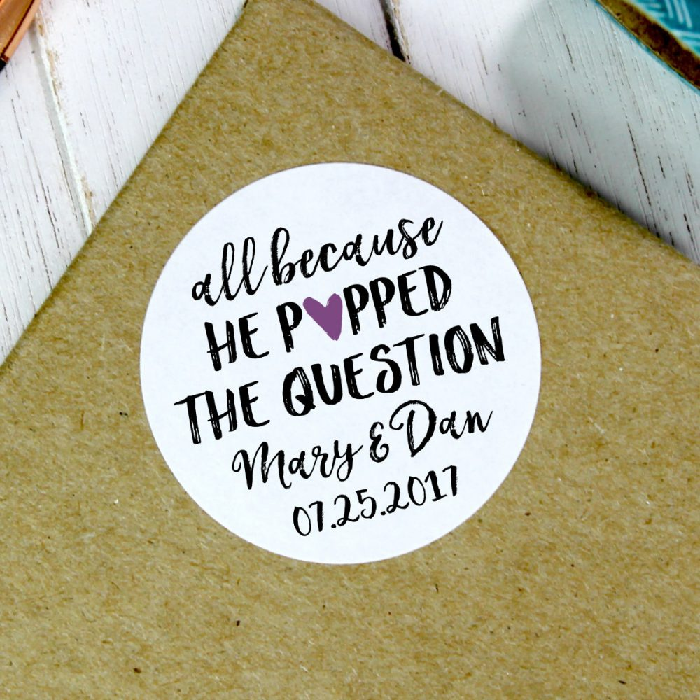 All Because He Popped The Question, Wedding Popcorn Stickers, Favors, Favours, Stickers