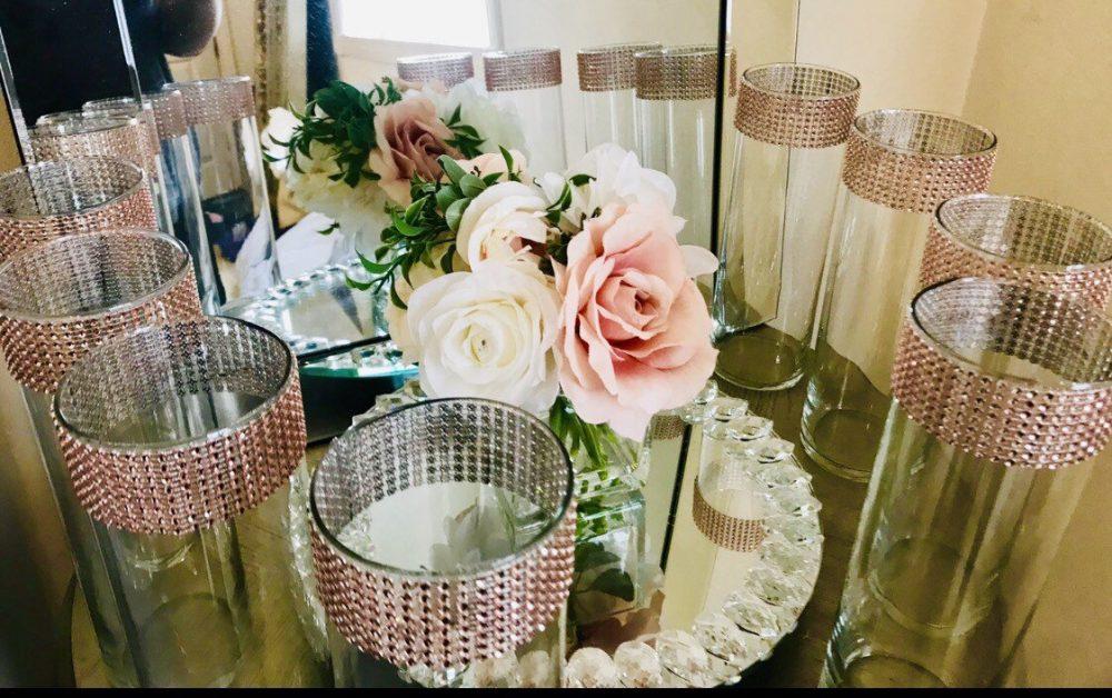 12 Centerpieces Cylinder Vases Sparkling Rose Gold Rhinestone Mesh Ribbon Around The Top Of Each Vase Wedding