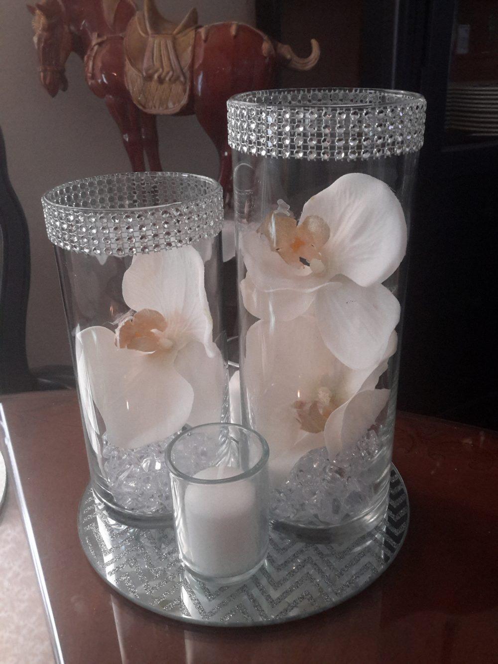 Floral Cylinder Vase Set W/Orchids & Silver/Gold Bling Glitter Mirror-Wedding-50Th Anniversary-25Th Anniversary-Birthday-Decor-Centerpiece