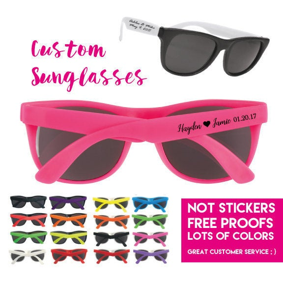 150 Personalized Wedding Favor Sunglasses, Custom Printed Party 1 Color Imprint On Side, Not Stickers, Bride Groom Sunglasses