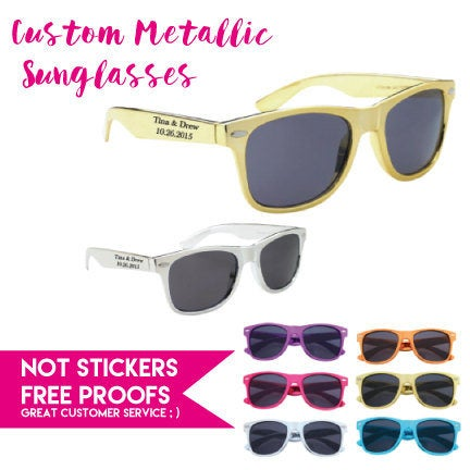 175 Metallic Personalized Wedding Sunglasses , Custom Printed Party Sunglasses, Includes One Color Imprint 2 Locations