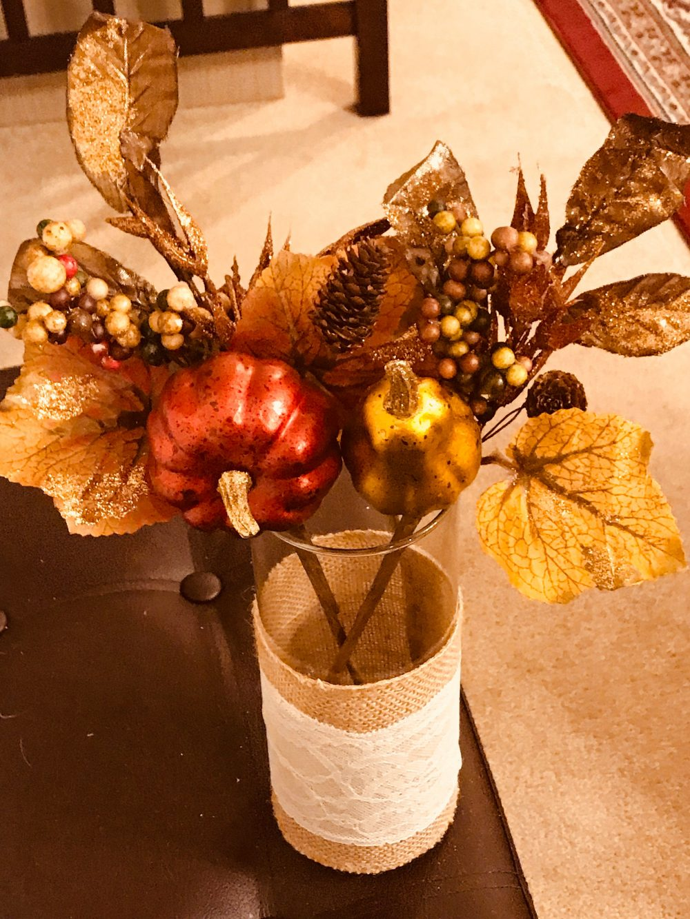 Beautiful Decorative Fall Arrangement, Vivid Gourds & Leaves in A Tall Cylinder Vase Covered Burlap Lace