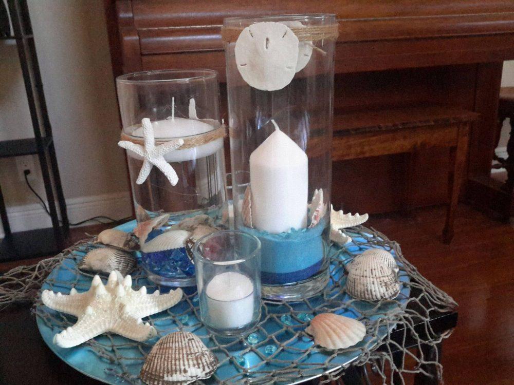 Beach Candle Seashell Cylinder Vase Centerpiece Set-WeddingFloating Candle-Party-Birthday-Anniversary-Birthday-Sweet 16-Beach Wedding