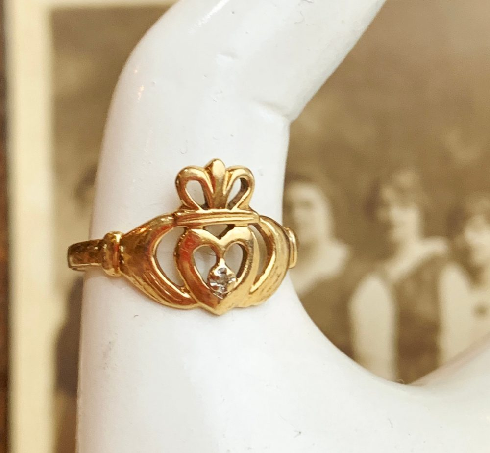 10K Yellow Gold Irish Celtic Diamond Solitaire Claddagh Engagement, Wedding Or Right Hand Band, 10K Ring