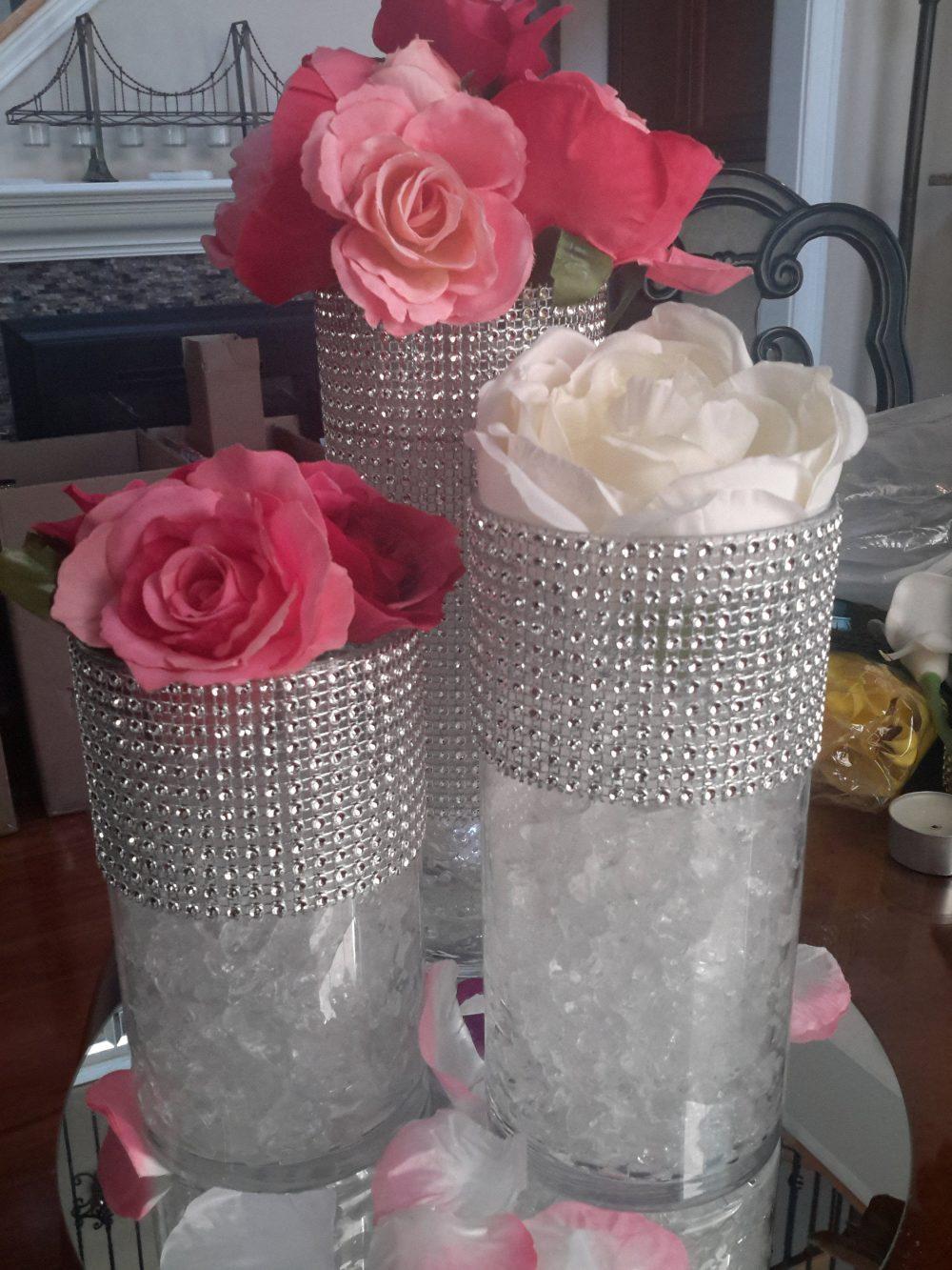 Cylinder Vase Floral Set Of 3 With Bling-Flower Centerpiece-Baptism-1st Communion-Quinceañera-Sweet 16-Shower-Birthday - Tea Party-Wedding