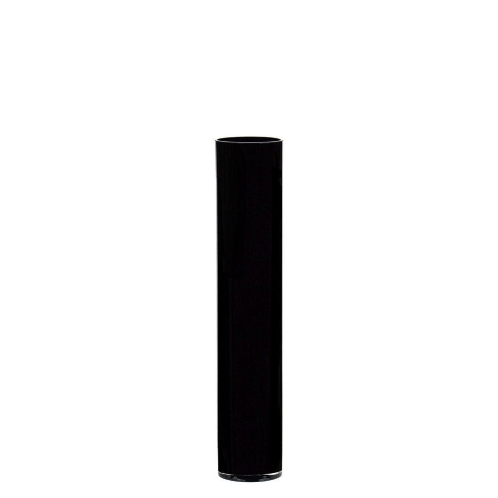 "Glass Cylinder Vase H-20"", D-4"" Hand Blown With Black Color Elegant Wedding Decorative Centerpiece"