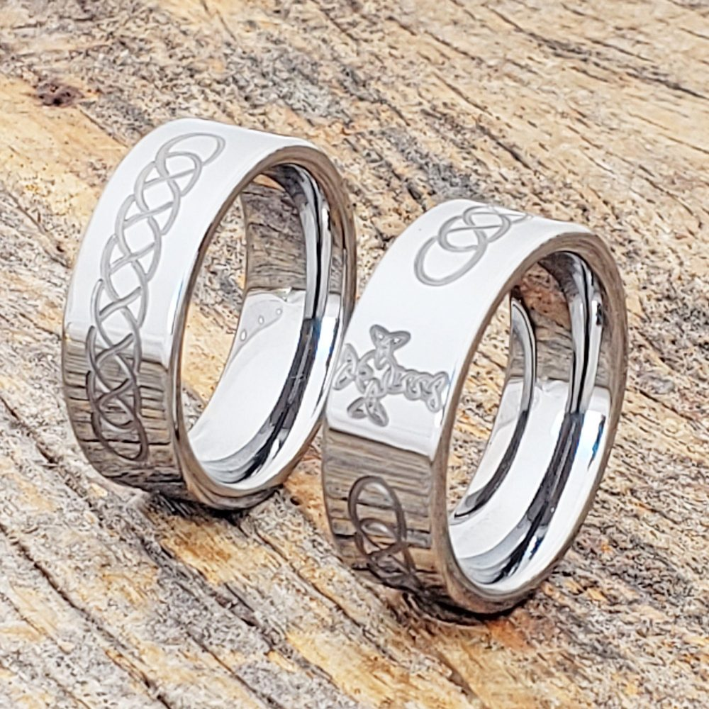 Celtic Sideways Cross Purity Ring, Trinity Triquetra Jewelry, Signet Tungsten Unique Wedding Band, Band