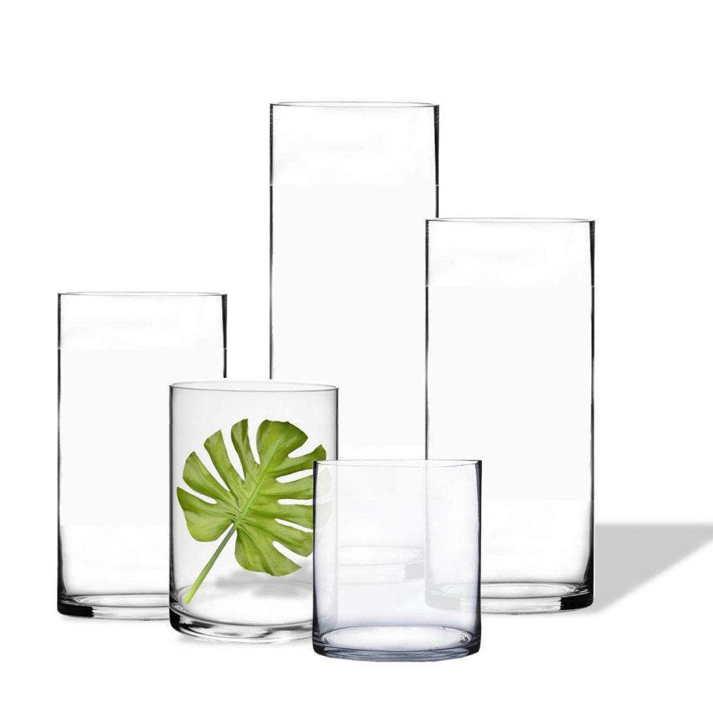 "Glass Cylinder Vase D-10"" Hand Blown Vases Centerpieces Table Flower For Wedding Decoration Formal Dinner, Multiple Heights"