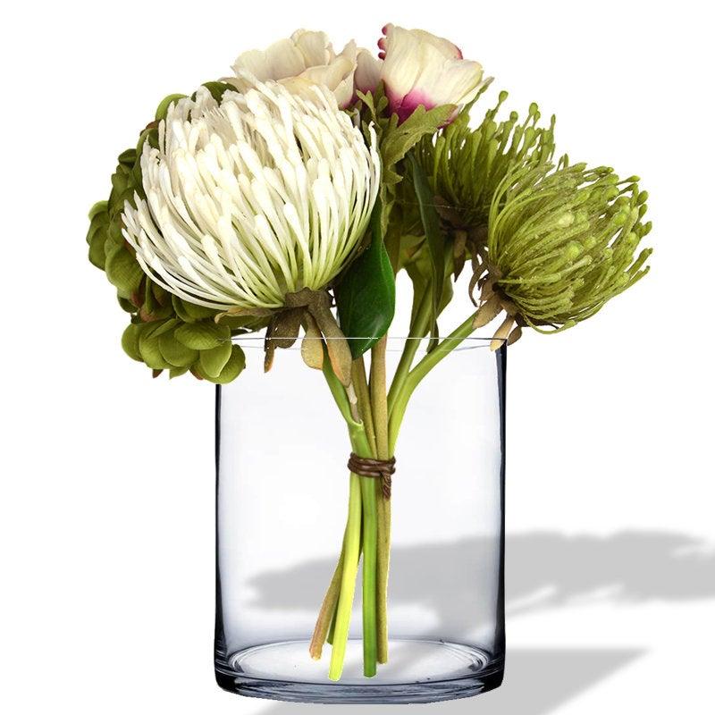 "Glass Cylinder Vase H-12"", Open D-10"" Hand Blown Vases Centerpieces Table Flower For Wedding Decoration Formal Dinner"