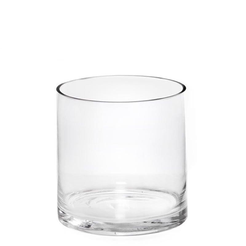 "Glass Cylinder Vase H-12"", Open D-6"" Hand Blown Straight Vases"