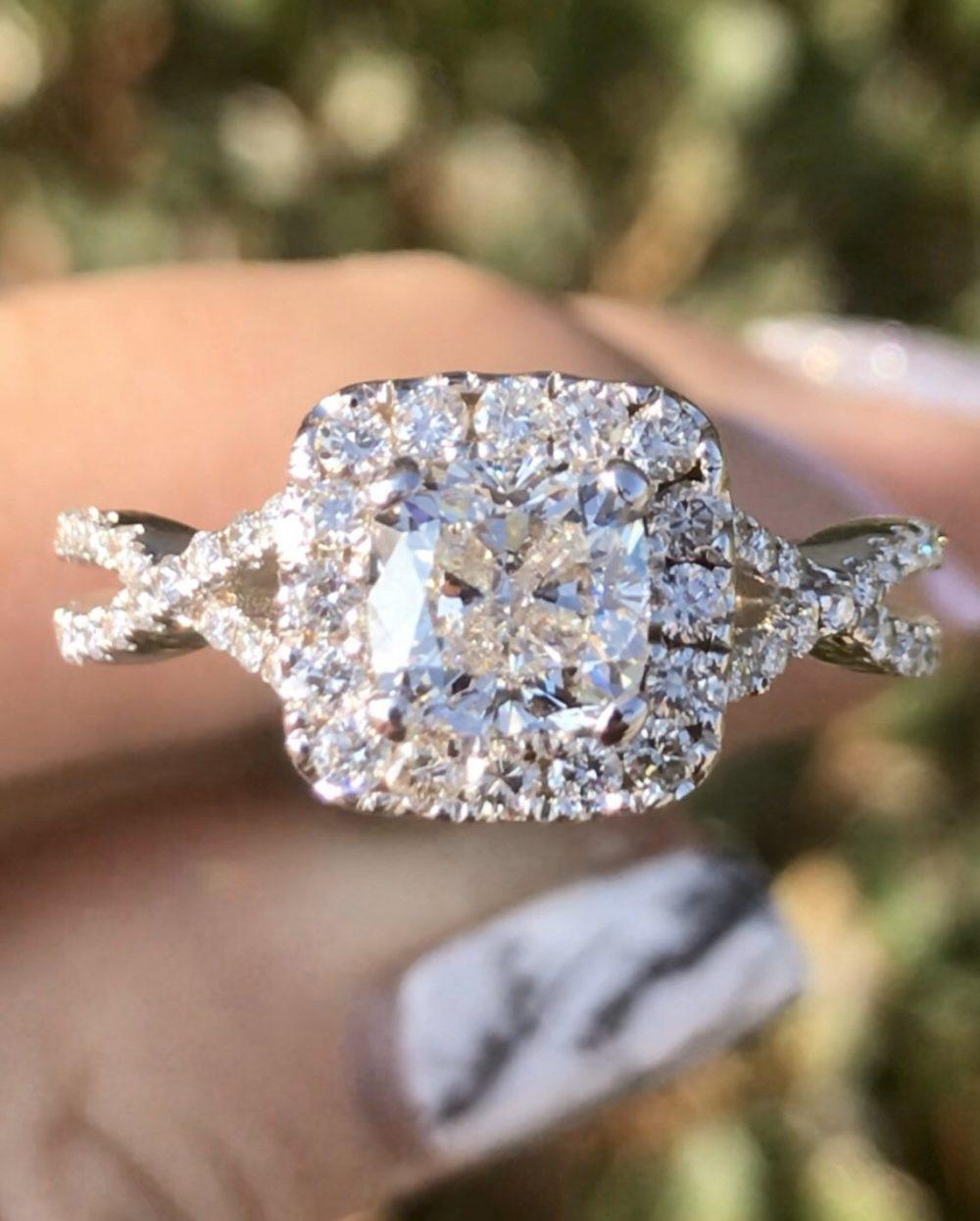 1.00Ct Diamond Cushion Cut Halo Criss Cross Infinity Twist Engagement Ring Wedding Anniversary Bands Platinum 18K 14K White Yellow Rose Gold