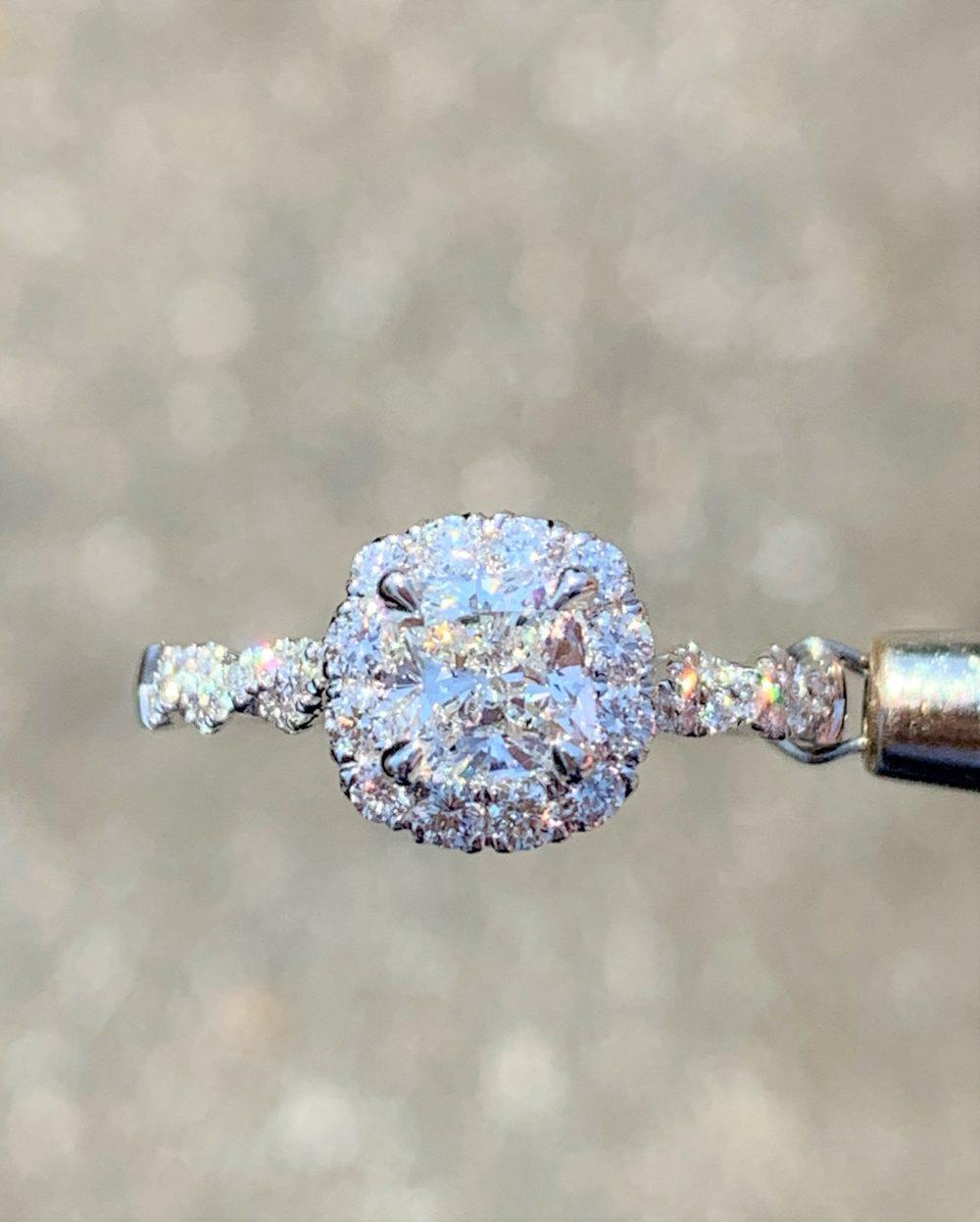 1.00Ct Diamond Cushion Cut Halo Criss Cross Infinity Twisted Engagement Ring Wedding Rings Bands Platinum 18K 14K White Yellow Rose Gold